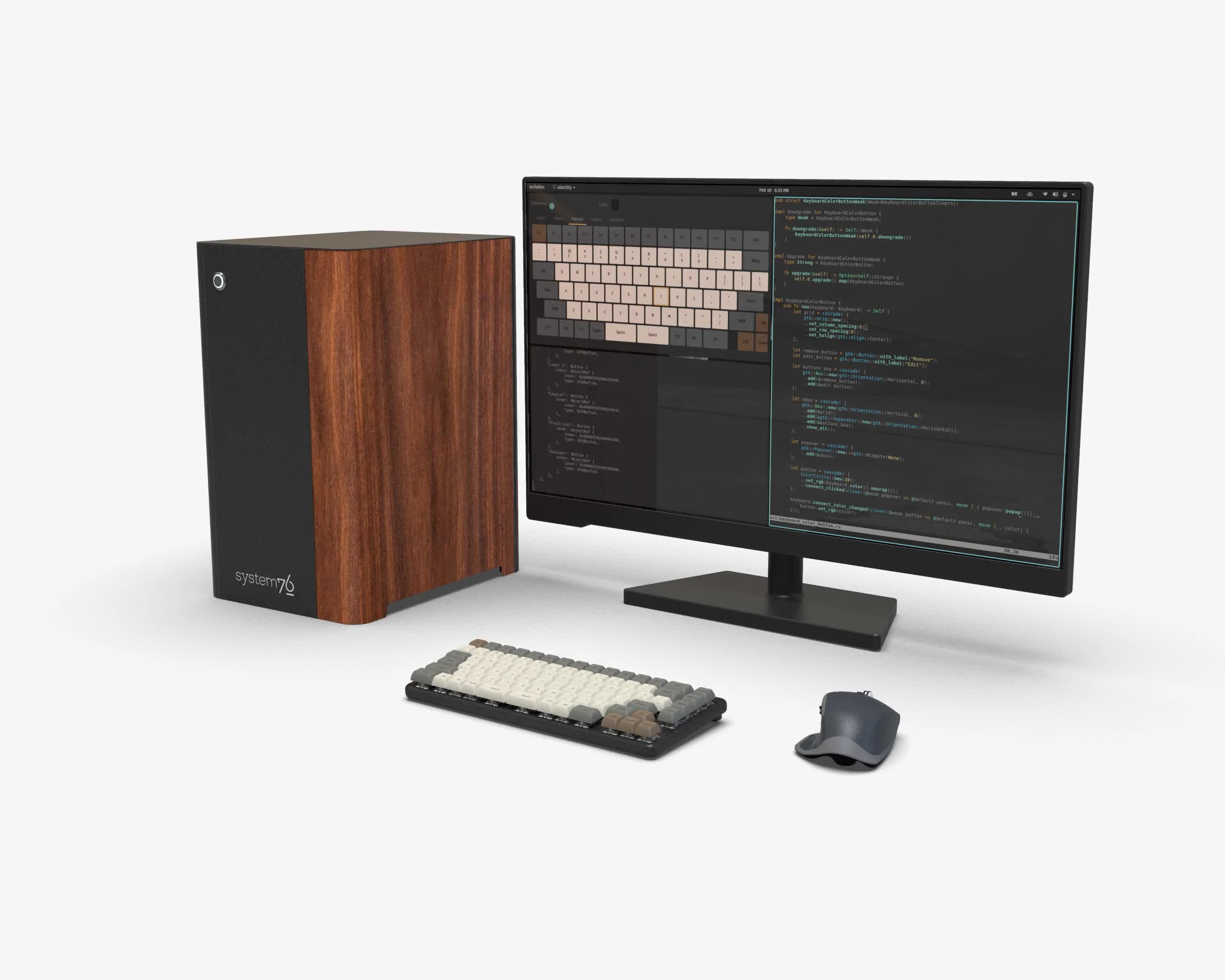 Desk setup with a Thelio workstation, an external display, and the Launch keyboard where brown, red, or blue keycaps of the Escape and Arrow keys match the colored veneer on a Thelio machine.