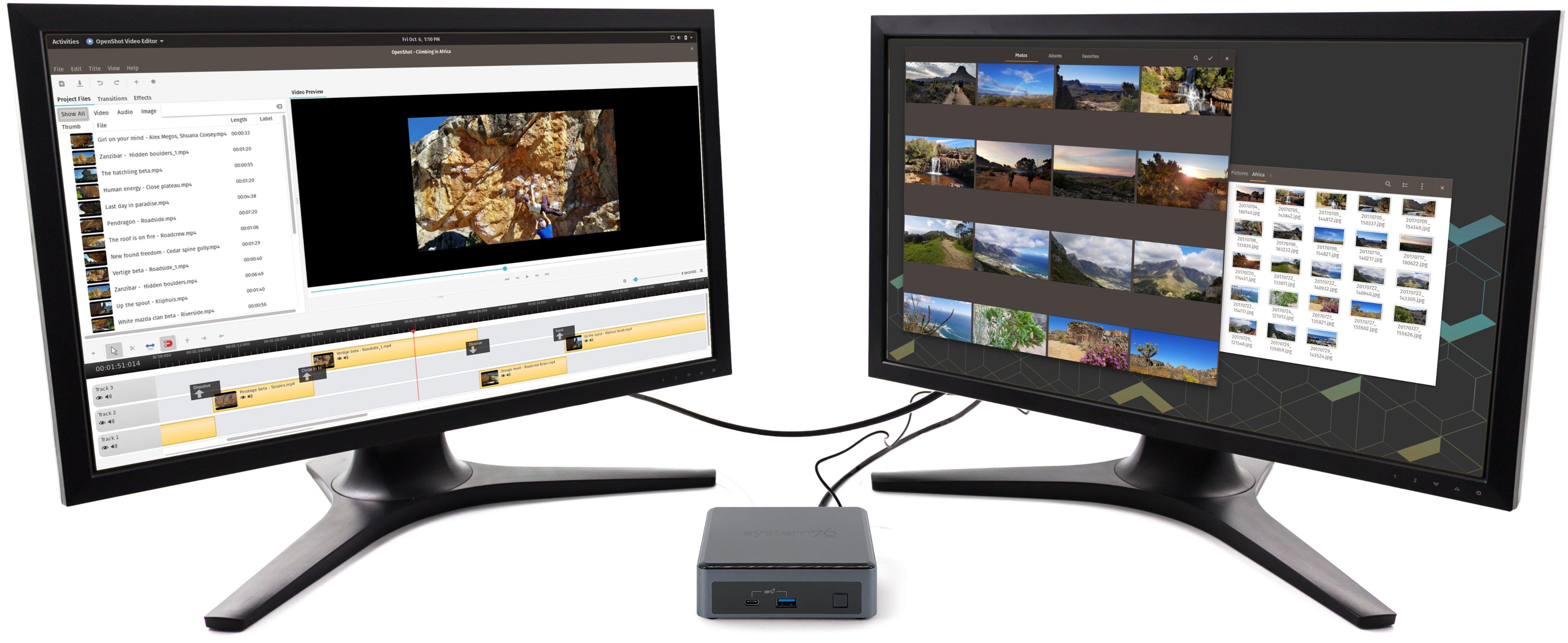Meerkat desktop between two displays, editing a skiing video