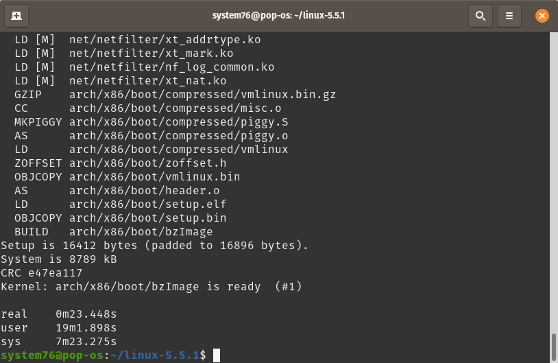 Screenshot of Linux kernel compilation
