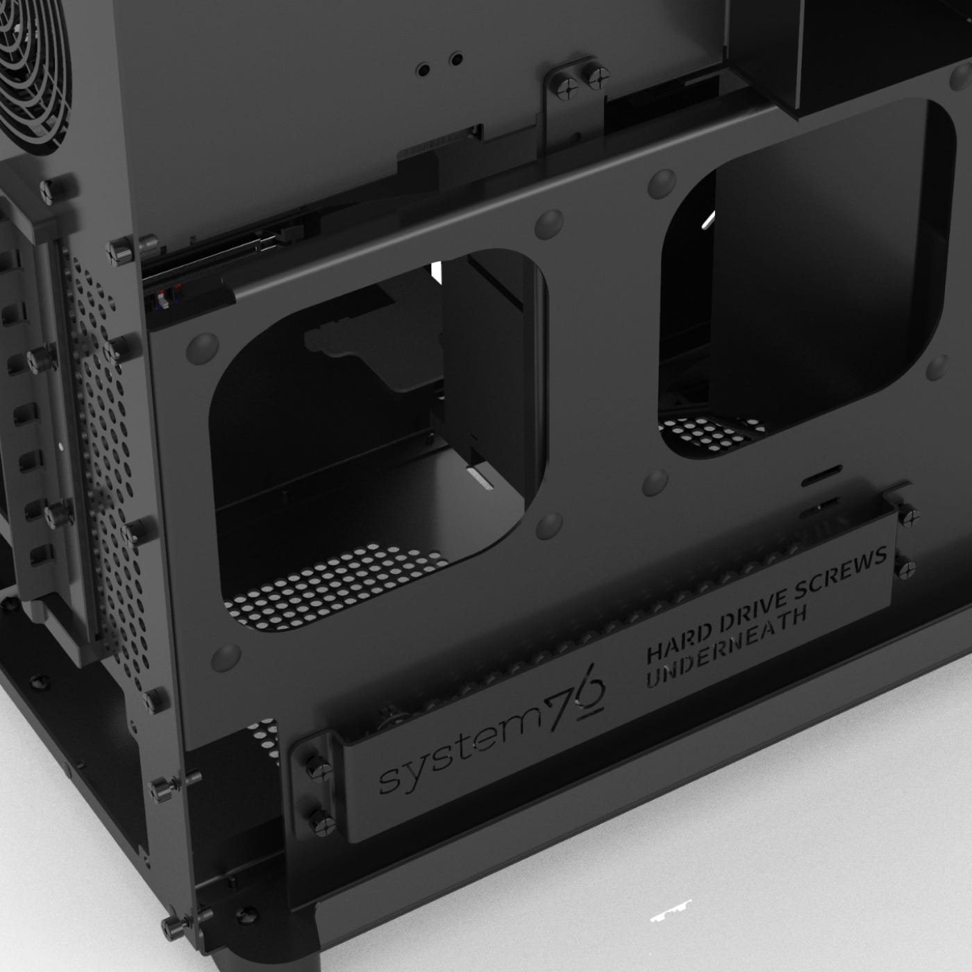 Detail of the aluminum chassis without any components installed.