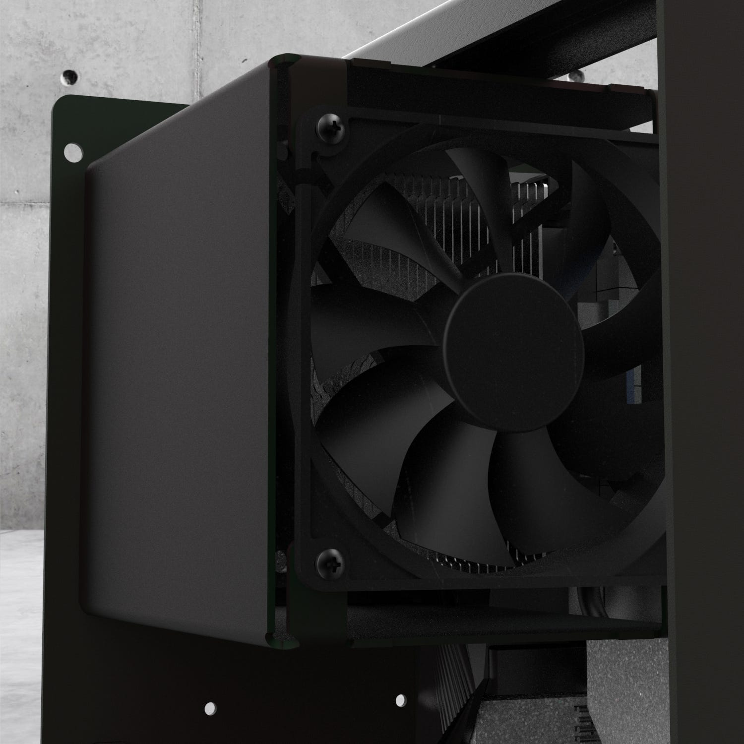 Detail of the CPU cooling duct with fan.